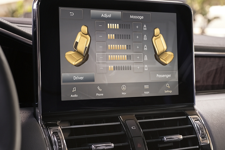 The controls for the perfect position seats are displayed on the centre consoles touch screen showing off the interface
