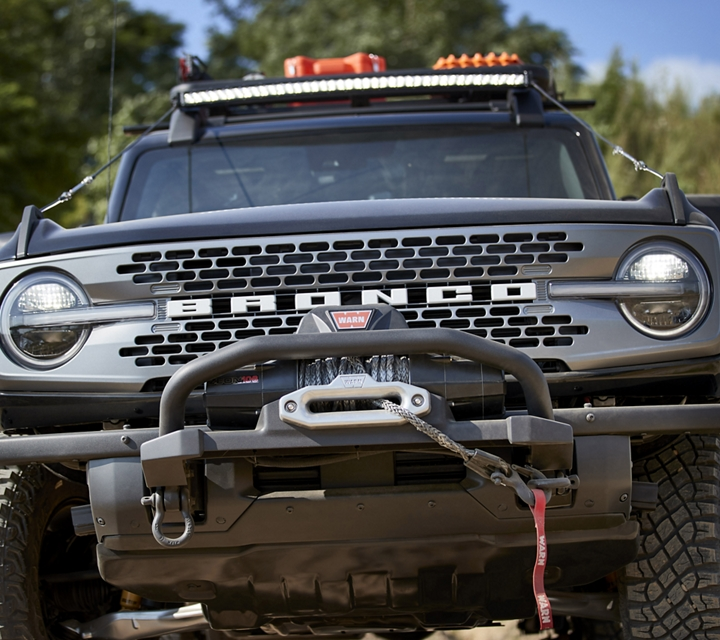 Front view of 2021 Ford Bronco Trail Rig with available WARN winch