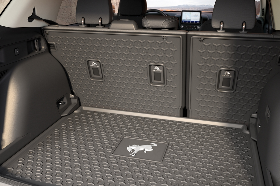 Close up of the rubberized cargo floor in a 2021 Ford Bronco Sport