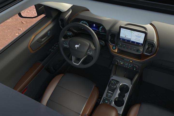 Vista superior del interior de una Ford Bronco Sport 2021
