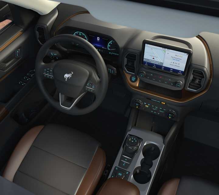 Overhead interior view of a 2021 Ford Bronco Sport