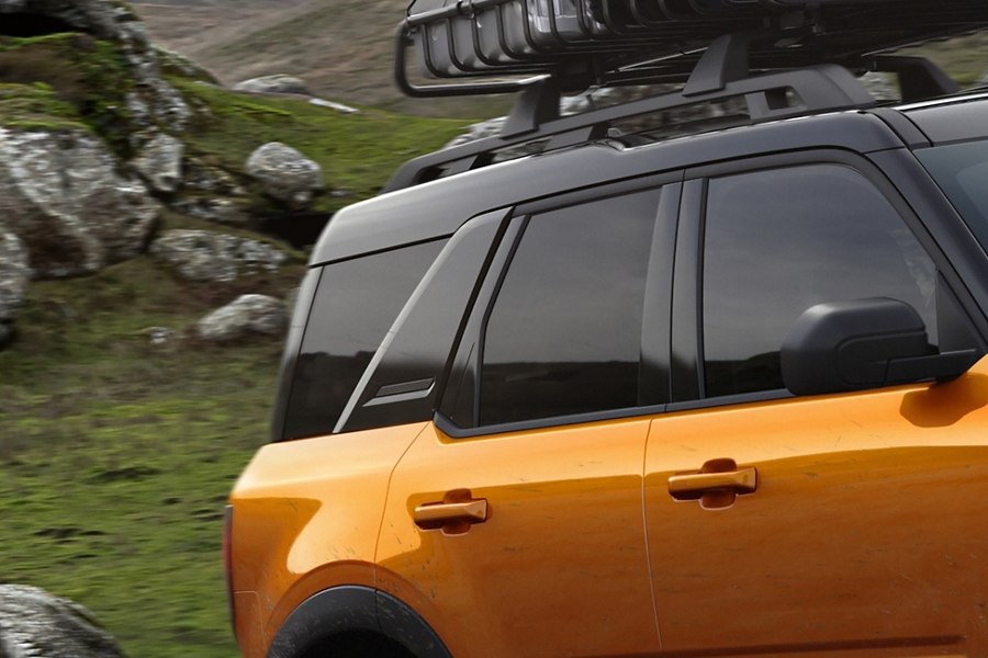 Close up of the safari style roof with roof rack on a 2021 Ford Bronco Sport