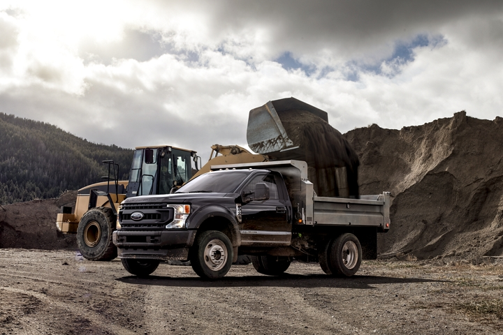 2020 Ford Super Duty X L F 600 Chassis Cab in Agate Black in canyon near construction vehicle