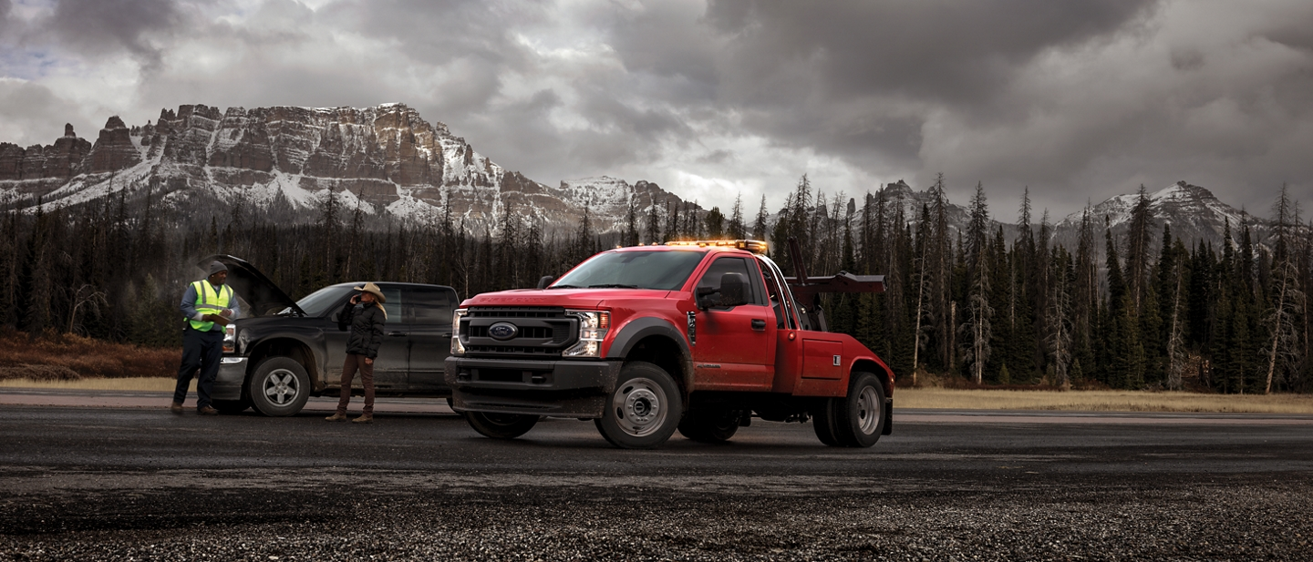 2020 Ford Super Duty Chassis Cab with upfit on site with mountains in the background