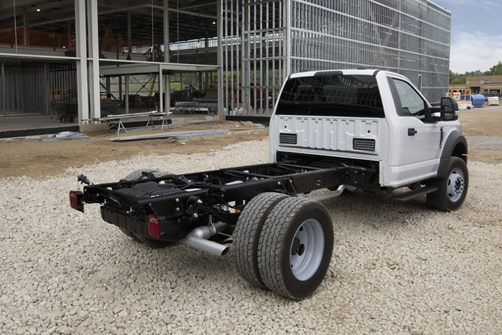 2020 Ford Super Duty Chassis Cab X L T F 600 shown in Oxford White with upfit at worksite rear view