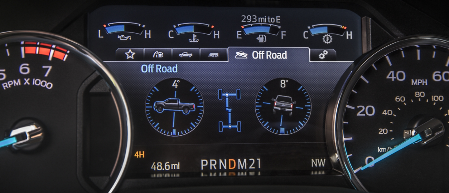 2020 Ford Super Duty Chassis Cab Steering Wheel and Instrument Panel Cluster with Truck Apps in Use