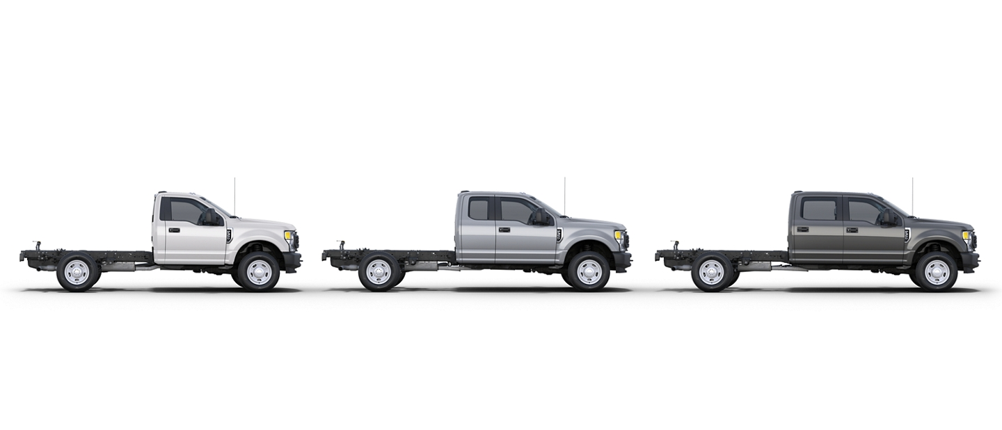 Three 2020 Ford Super Duty Chassis Cab Cab styles available