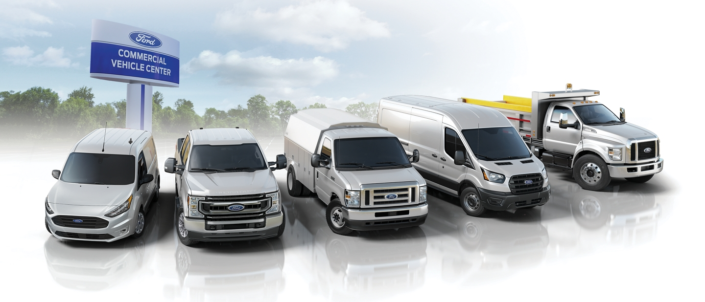 A line up of Ford Commercial Vehicles