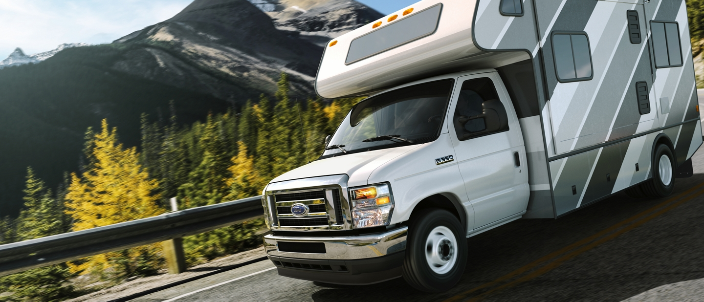 2021 Ford E Series Cutaway with Class C Motorhome towing auto trailer
