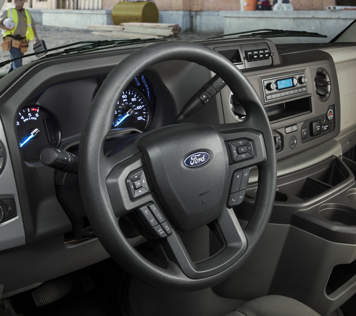 Close up of the 2021 Ford E Series Cutaway ergonomic instrument panel