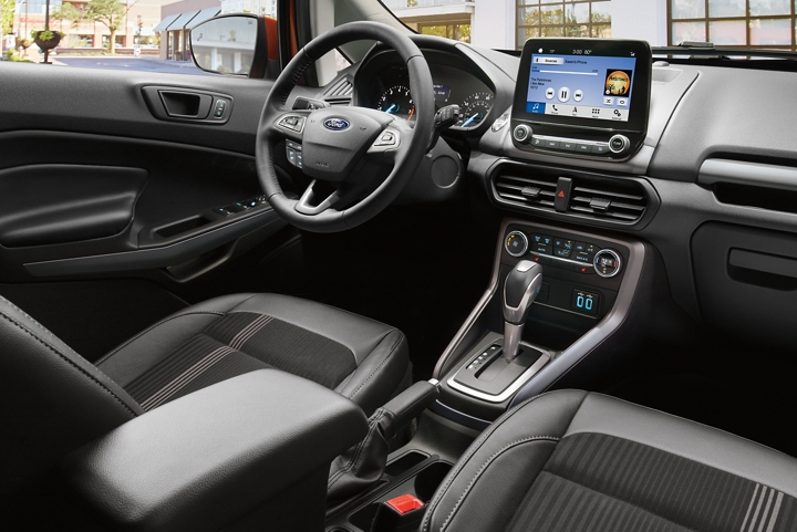 The 2019 EcoSport S E S interior features bold Ano Gray accents