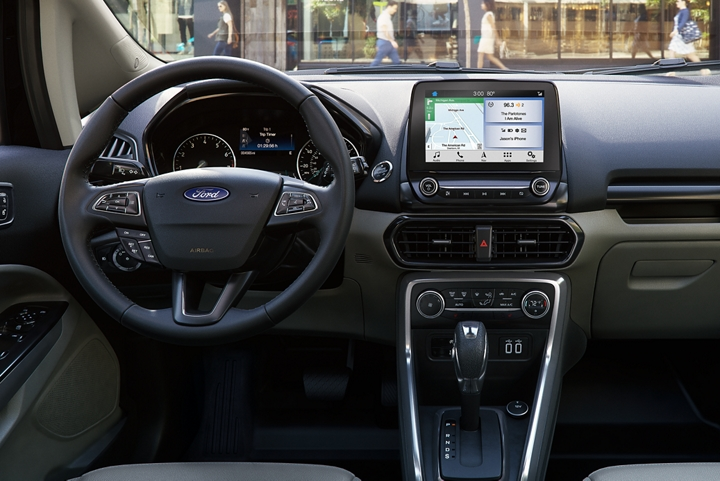 2019 Ford EcoSport instrument panel featuring available 8 inch touchscreen