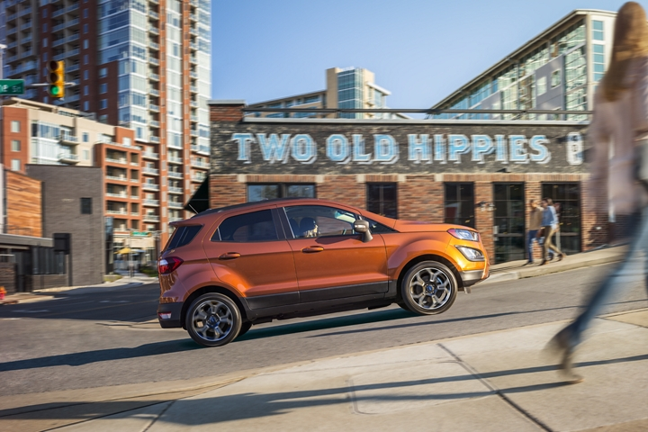 The 2019 EcoSport S E S in Canyon Ridge uses hill start assist to help make ascents easier