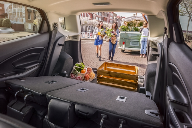 2019 EcoSport rear cargo area with seats folded down and cargo packed inside
