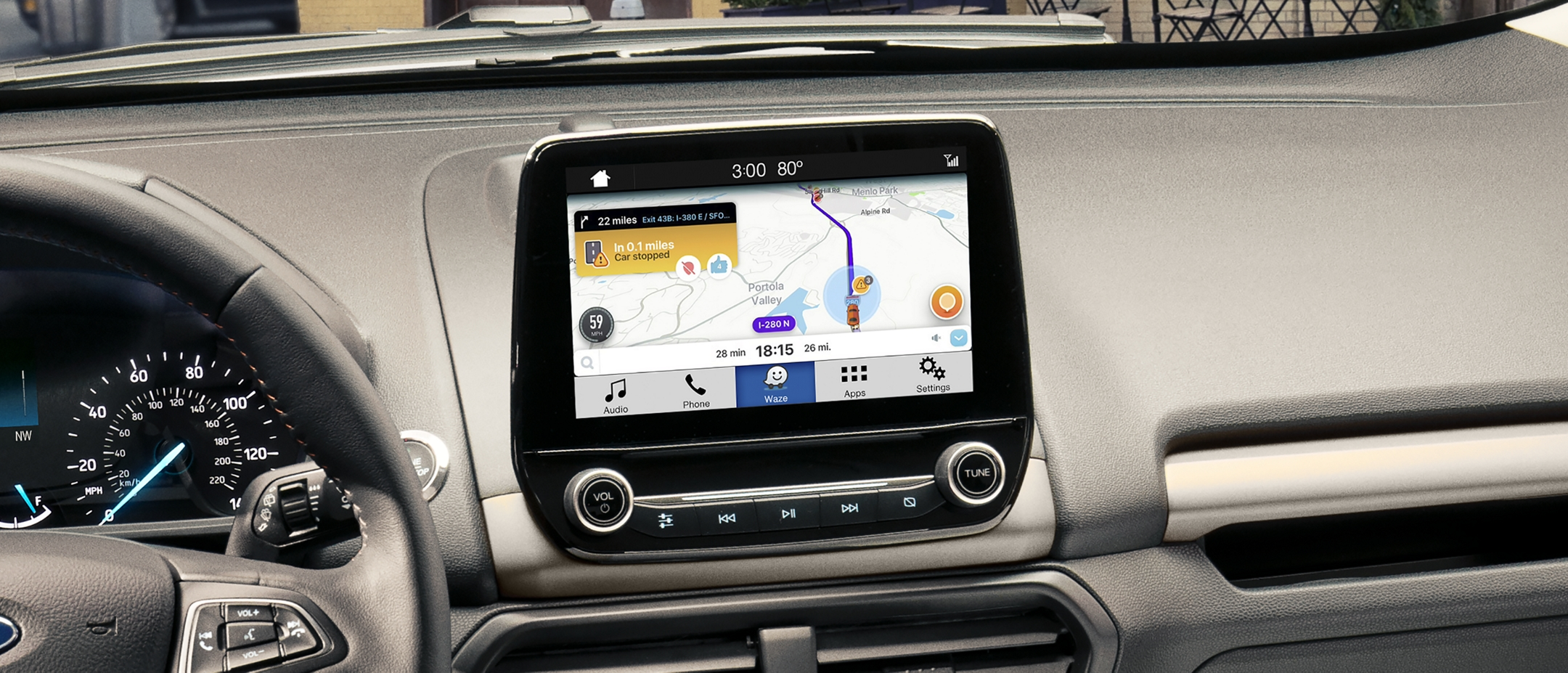 The front panel of the 2019 EcoSport with Waze navigational maps shown on the available 8 inch touchscreen