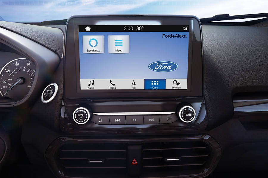Close up of 2019 Ford EcoSport available 8 inch color L E D touchscreen with Alexa