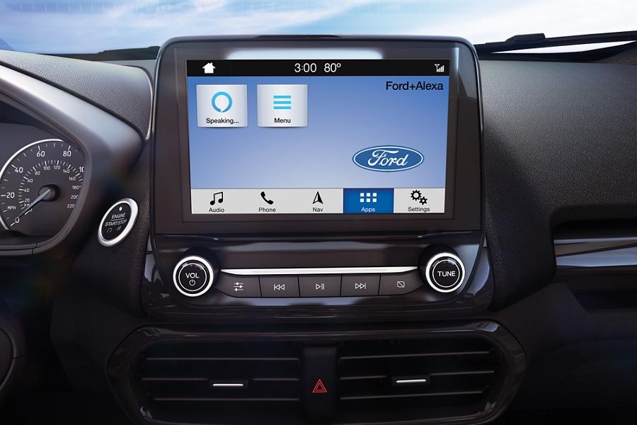 "Primer plano de una Ford EcoSport 2019 con pantalla táctil L E D a colores de 8"" con Alexa disponible"
