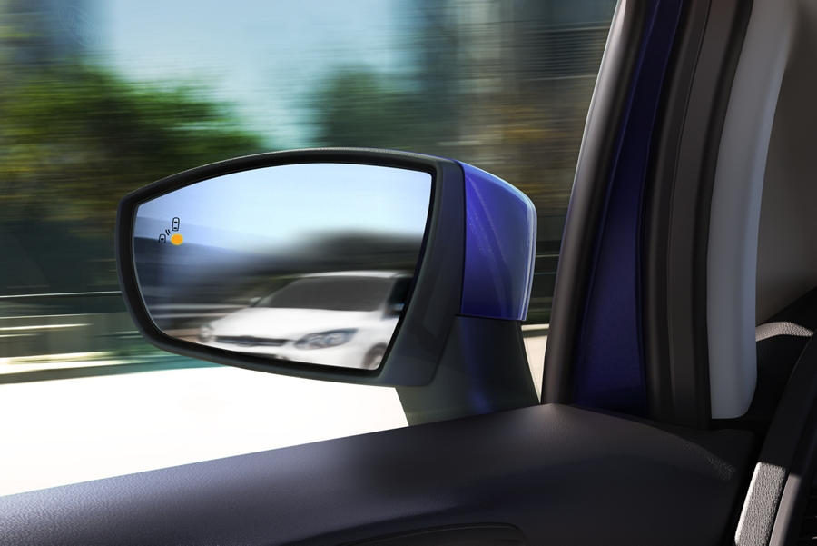 2019 Ford EcoSport drivers side mirror demonstrating the B L I S alert