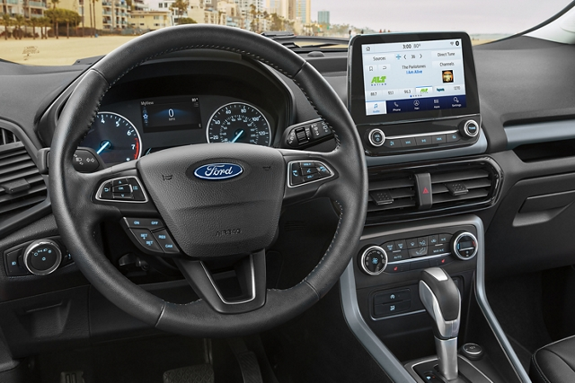 2020 Ford EcoSport interior with an available 8 inch touchscreen