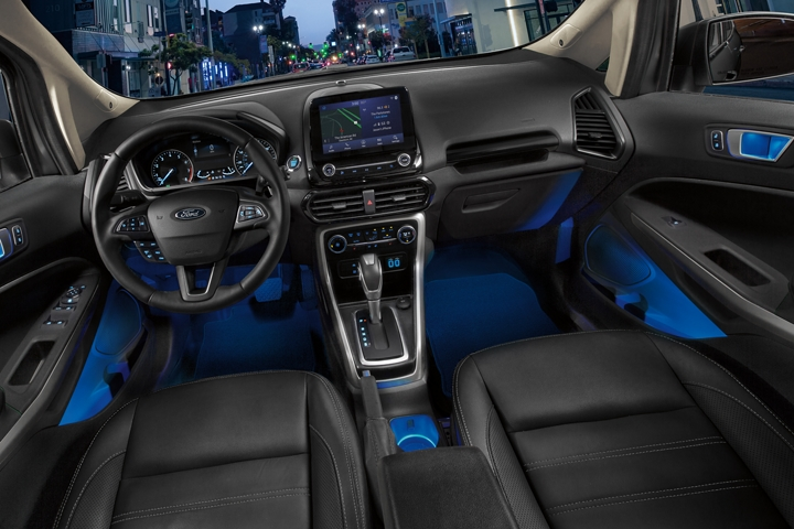 2020 Ford EcoSport interior with blue ambient lighting