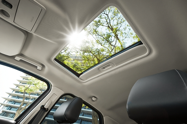 2020 Ford EcoSport Medium Light Stone interior with an open moonroof