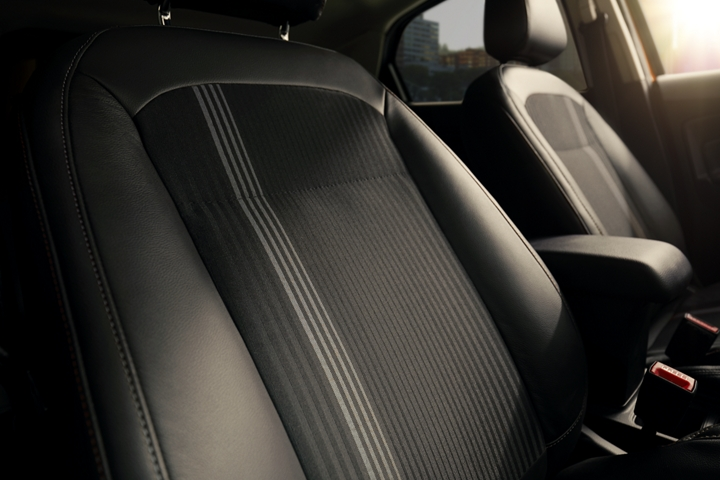 The 2020 Ford EcoSport S E S interior looks good with Active X seating material and unique metal gray fabric inserts