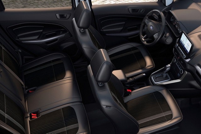 The 2020 Ford EcoSport S E S with Active X seating material and metal gray stitching