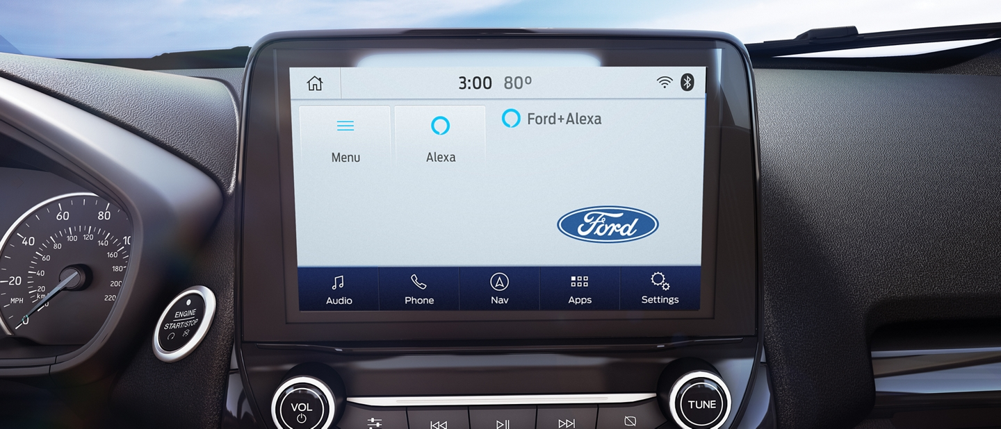 Close up of 2020 Ford EcoSport available 8 inch color L C D touchscreen with Alexa