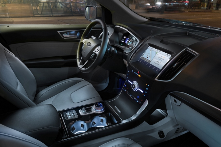2020 Ford Edge Titanium interior with ambient lighting