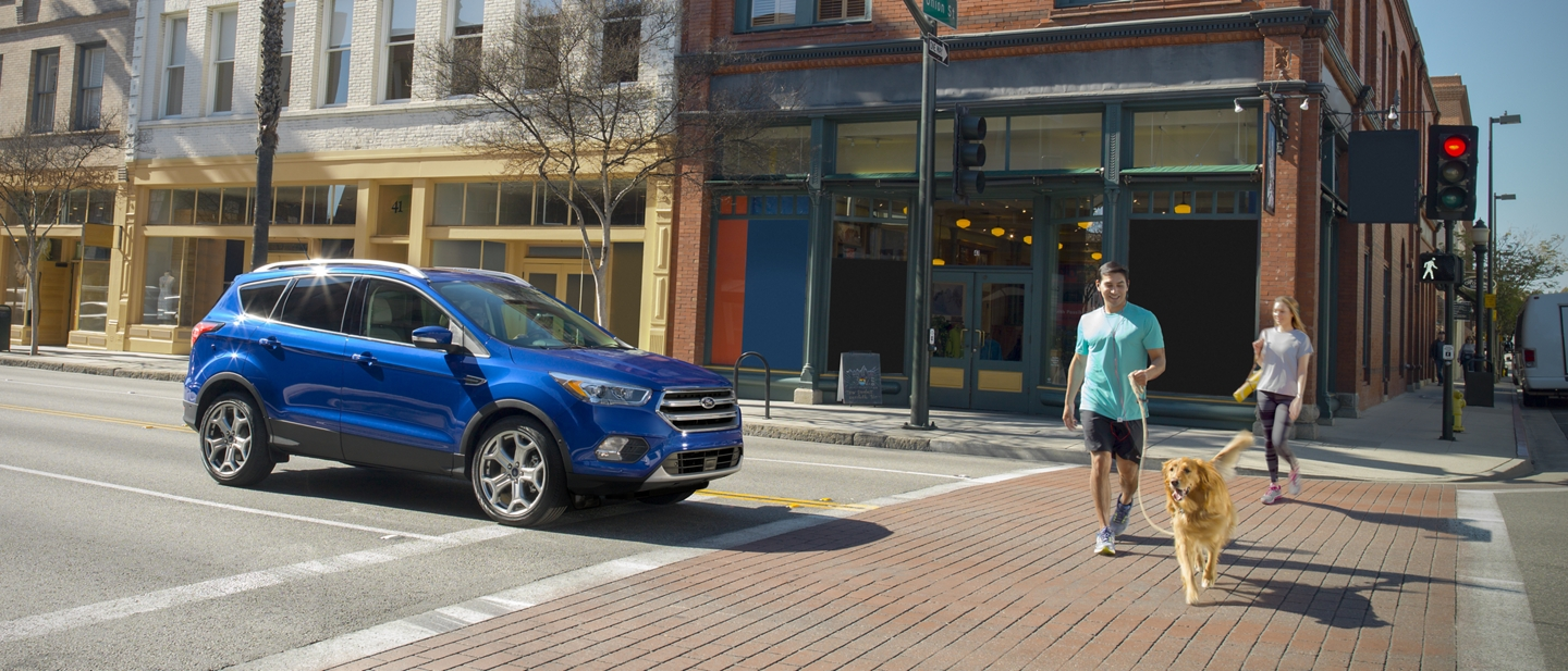 A 2019 Ford Escape in Velocity Blue stopped at a crosswalk