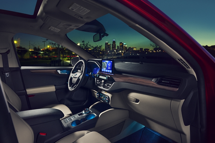 2020 Ford Titanium gas model interior showing standard ambient lighting