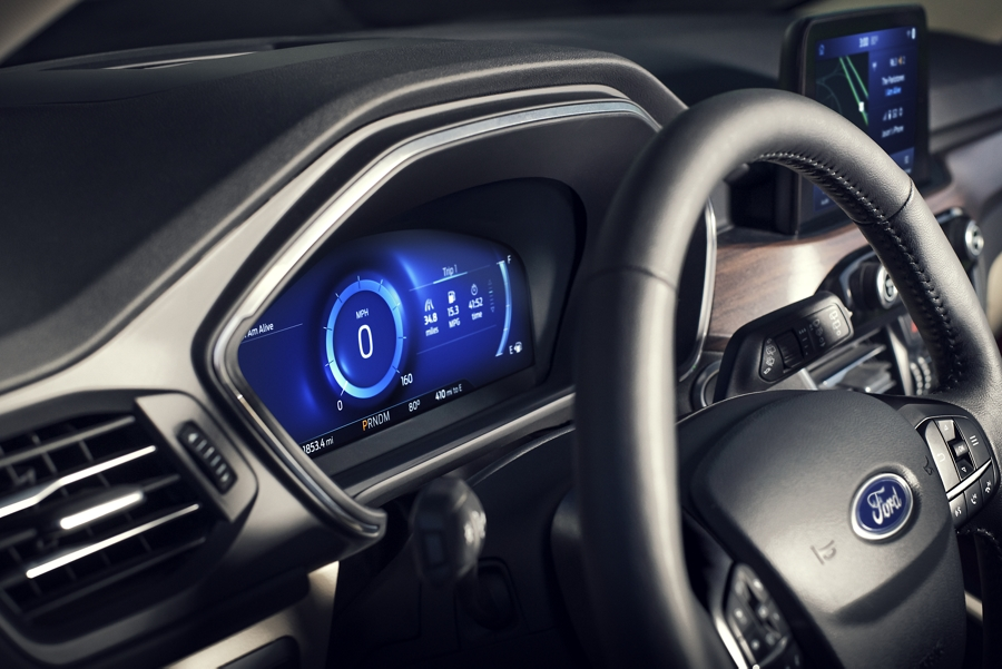 Interior of 2020 Ford Escape Titanium with available 12 point 3 inch digital instrument panel cluster
