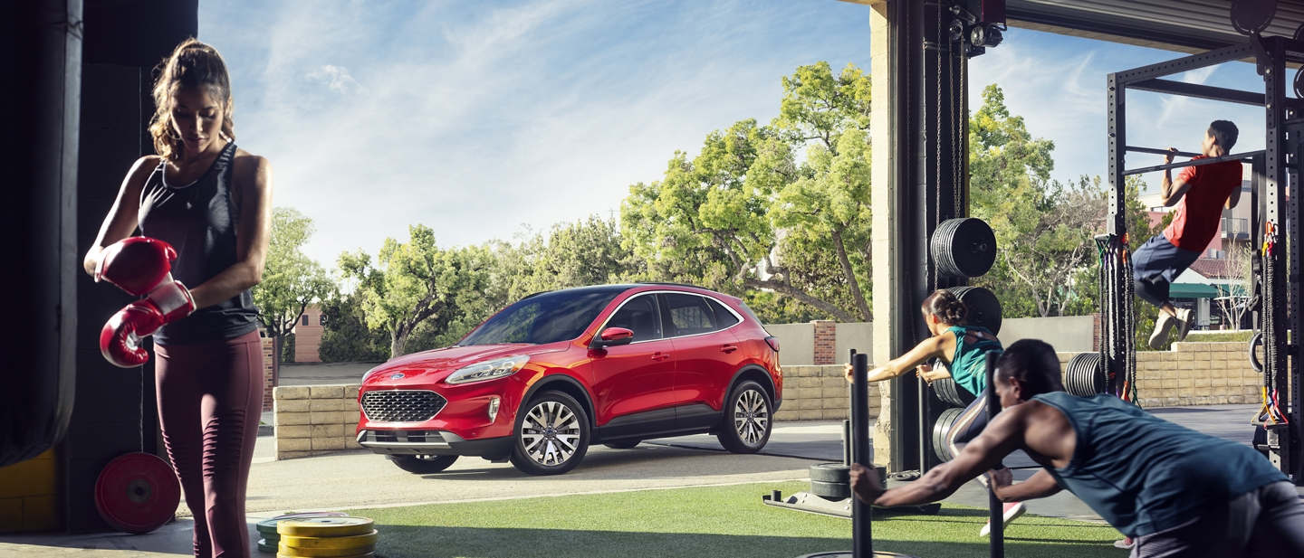 2020 Ford Escape Titanium with redesigned exterior in Rapid Red Metallic Tinted Clearcoat