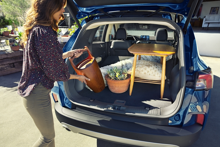 Available rear cargo space of 2020 Ford Escape Titanium Hybrid in Velocity Blue