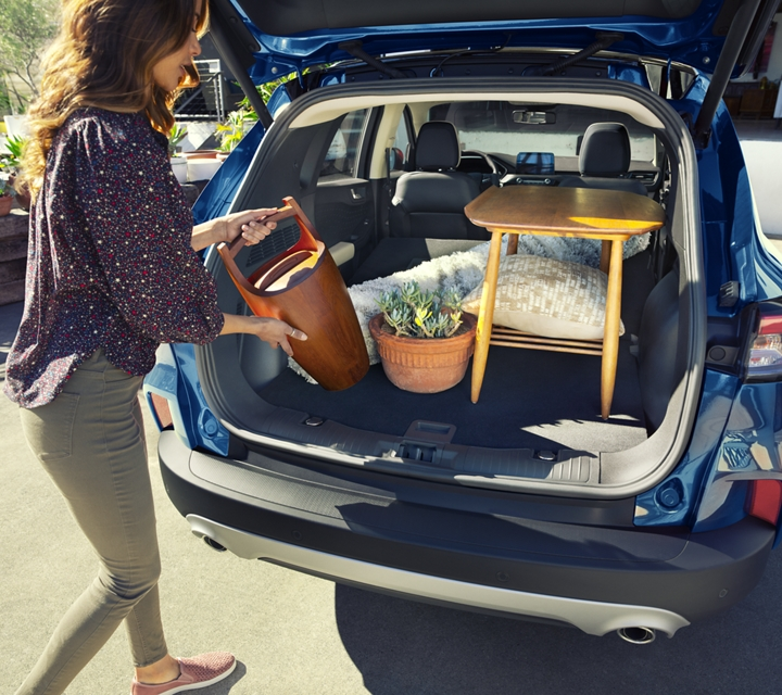 Available rear cargo space of 2020 Ford Escape in Velocity Blue