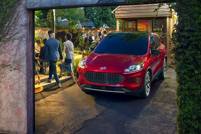 Distinctive 2020 Ford Escape S E Sport Hybrid at a garden party