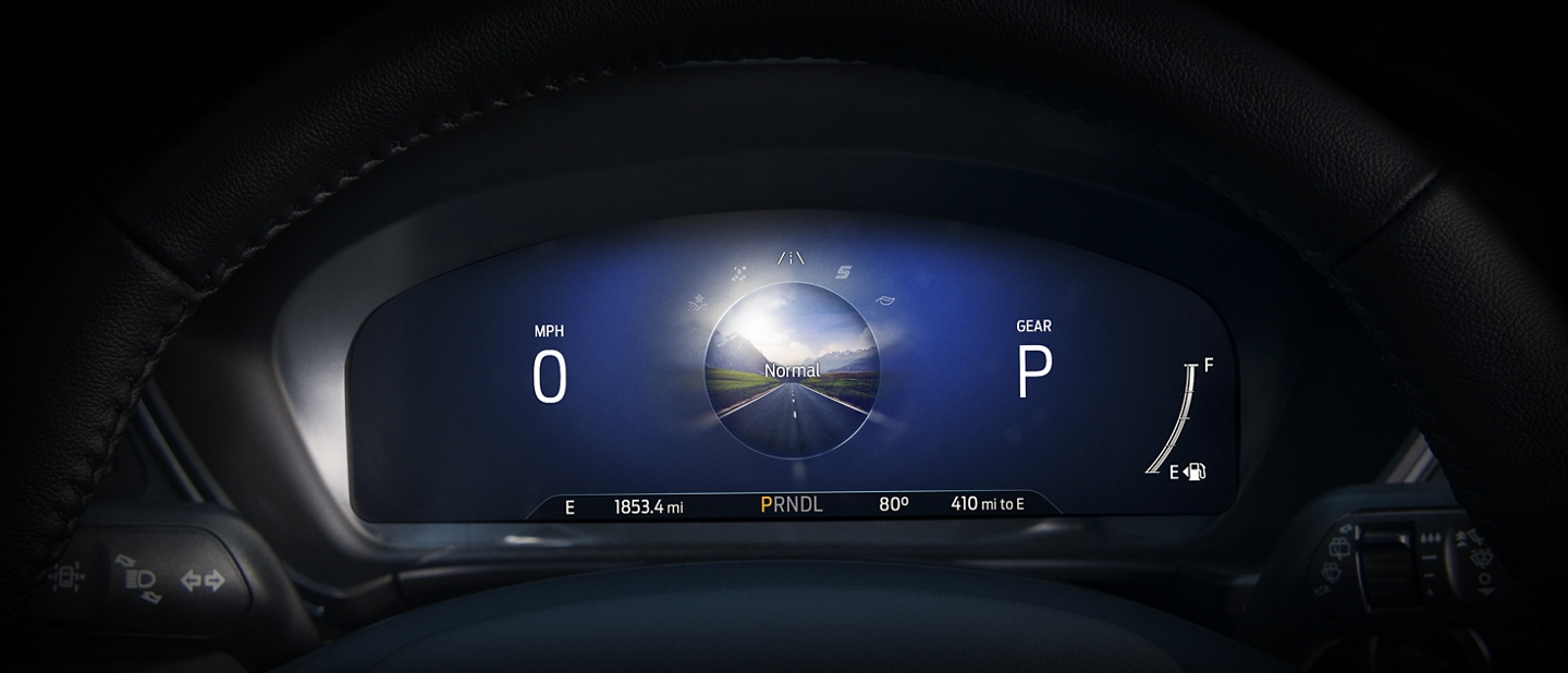 Available 12 point 3 inch digital instrument cluster displaying Normal driving mode