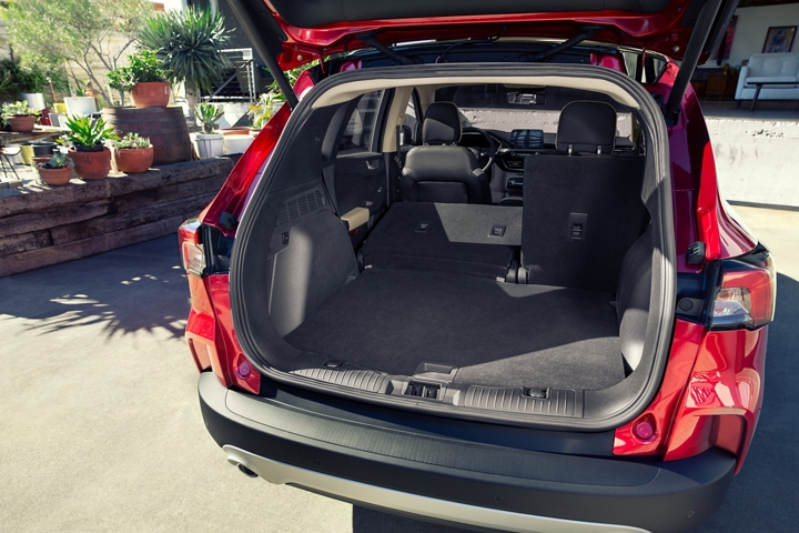 Rear cargo area of 2020 Ford Escape showing 60 slash 40 split fold seats