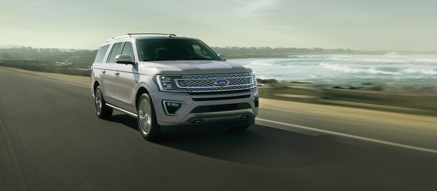 2020 Ford Expedition Platinum being driven down the road.