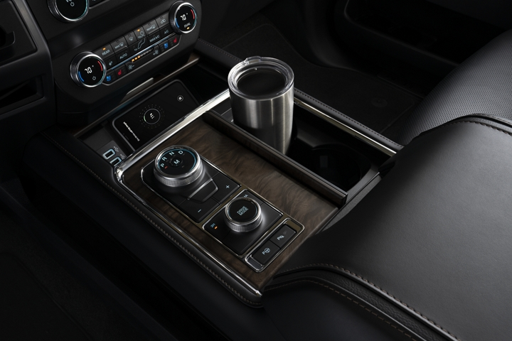 Interior of 2020 Ford Expedition showing covered beverage holder in center console