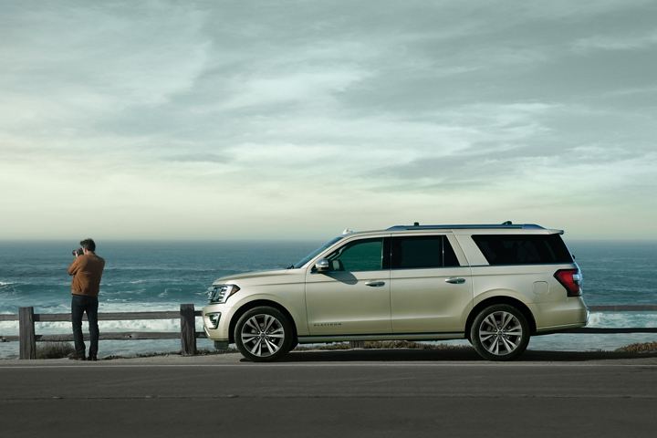 2020 Ford Expedition Platinum in Star White Metallic Tri Coat parked by scenic view