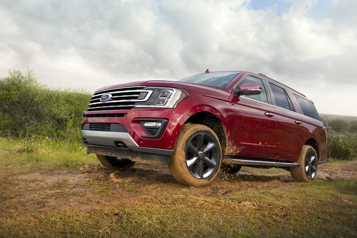 2020 Ford Expedition off road in the mud with the available F X 4 Off Road Package