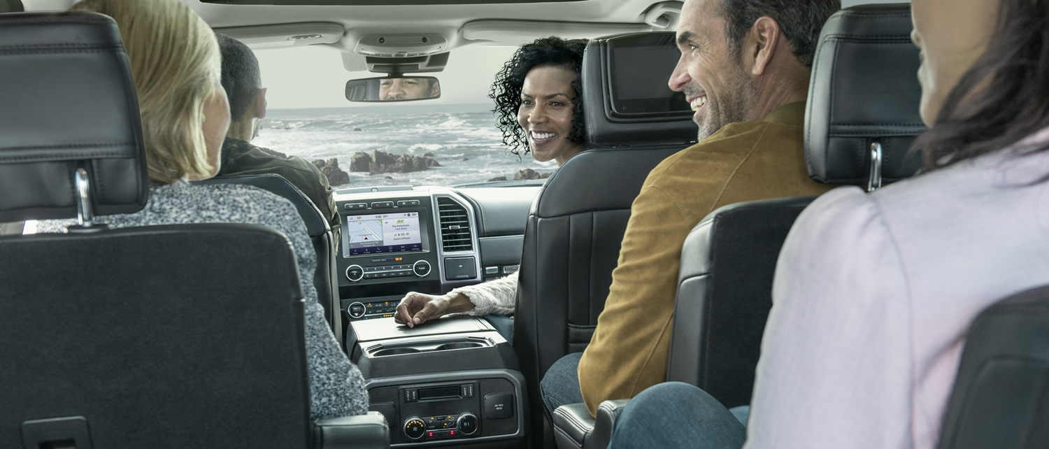 Many people seated in the spacious interior of the 2020 Ford Expedition