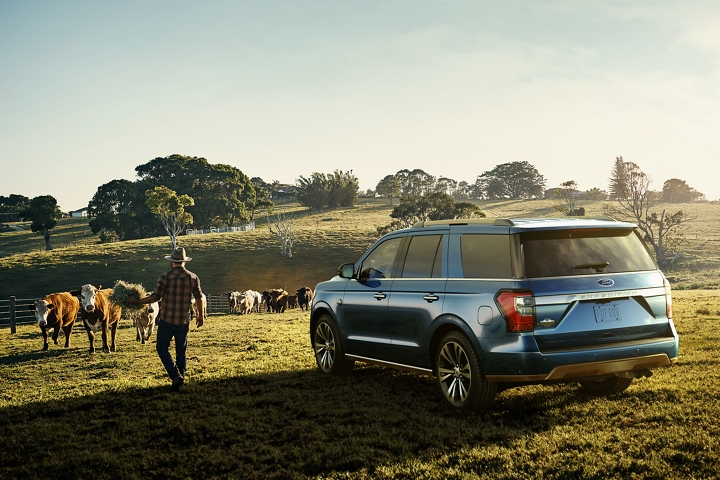 2020 Ford Expedition King Ranch on a cattle ranch in Blue