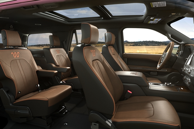 Spacious interior of 2020 Ford Expedition showing plenty of passenger space