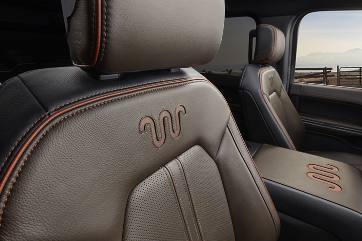 2020 Ford Expedition King Ranch interior shown with Del Rio leather seat displaying stitched King Ranch logo