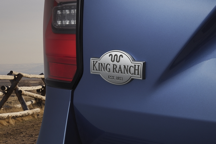 Close view of rear King Ranch logo