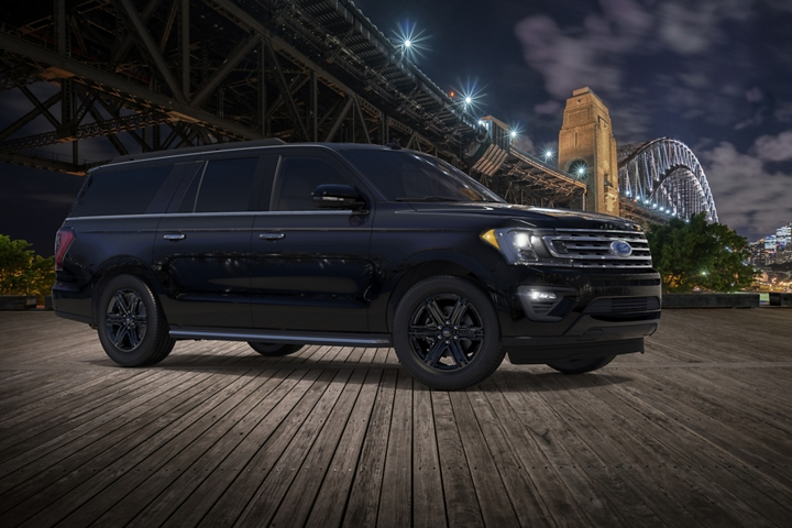 2020 Ford Expedition with Black Accent Package parked on a boardwalk by a river