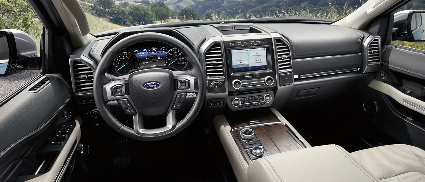 Spacious interior of 2020 Ford Expedition showing various available technology with plenty of style