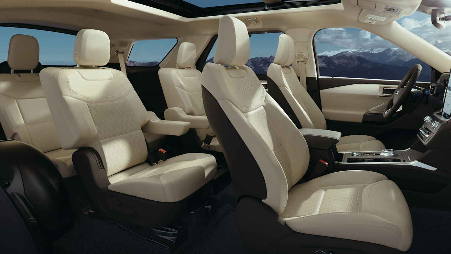 Side view of a 2020 Explorer Platinum interior in light sandstone